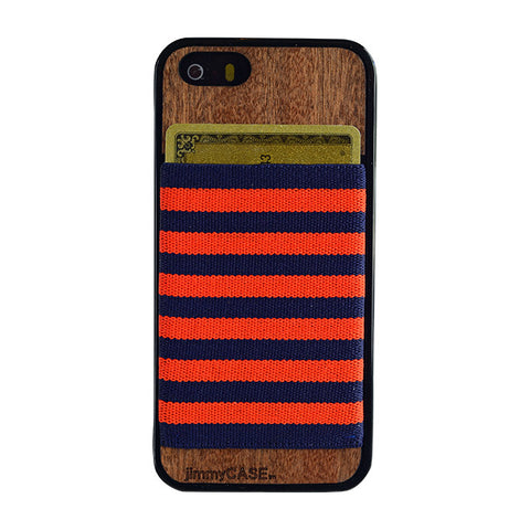 Phone Wallet Case - Orange & Navy Blue Stripe