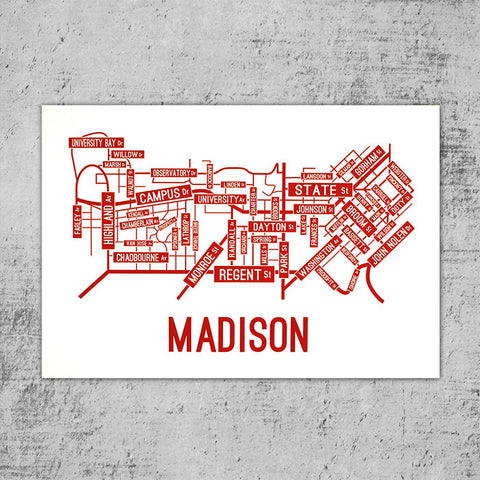 Madison, Wisconsin Street Map Poster