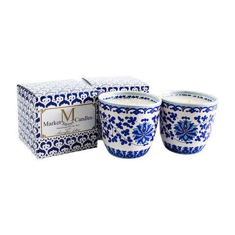 Shanghai Tea Cup Candle, Blue Lotus, Set Of 2