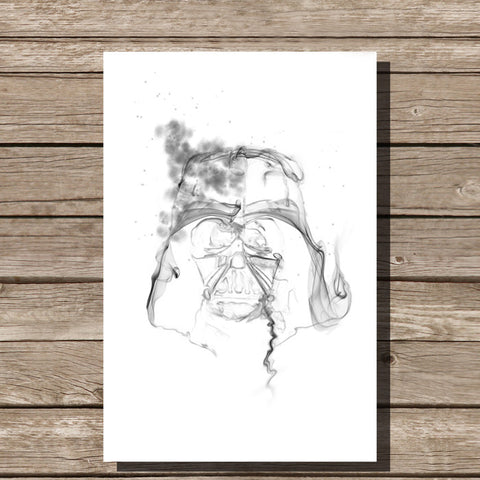 Darth Vader Smoke Art Minimalist Print, White