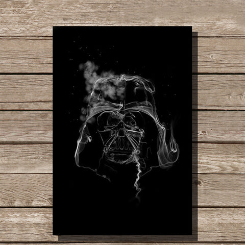 Darth Vader Smoke Art Minimalist Print, Black