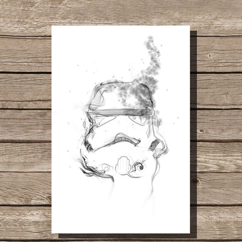 Storm Trooper Smoke Art Minimalist Print, White