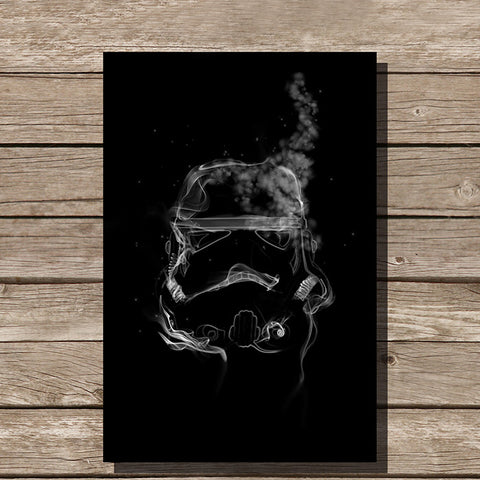 Storm Trooper Smoke Art Minimalist Print, Black