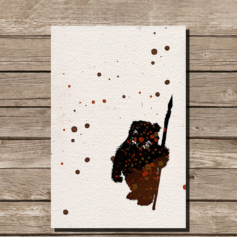 Ewok Watercolor Minimalist Print