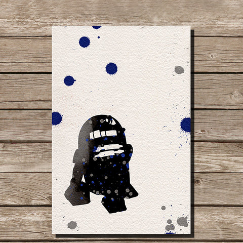 R2D2 Watercolor Minimalist Print