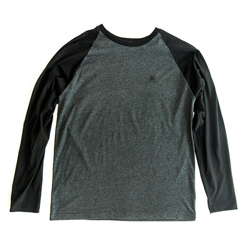 Men's Long-Sleeve Baseball Tee in Gray/Black