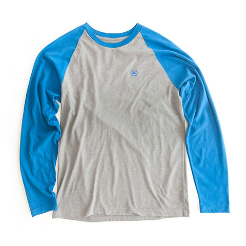 Men's Long-Sleeve Baseball Tee in Gray/Blue