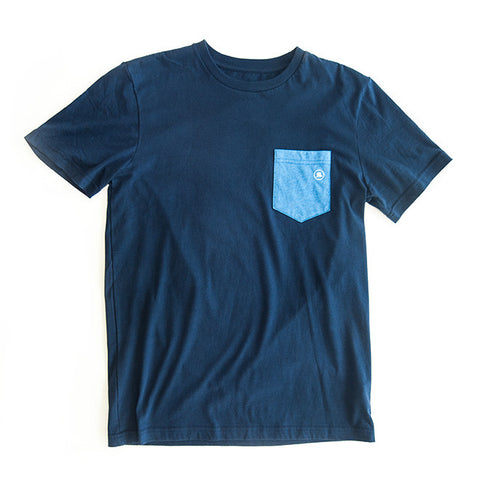 Men's Short-Sleeve Pocket Tee in Navy/Heather Blue