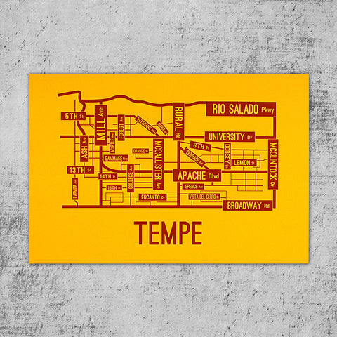 Tempe, Arizona Street Map Poster