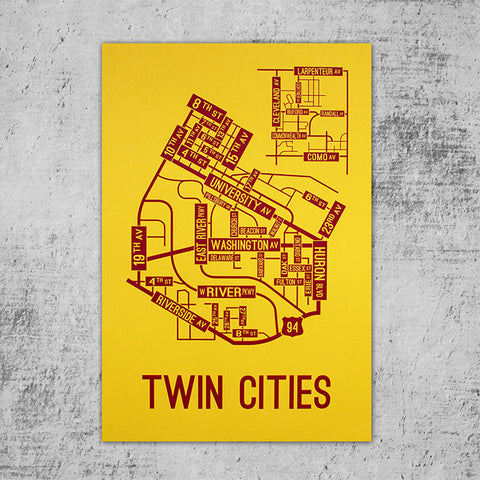 Twin Cities, Minnesota Street Map Poster