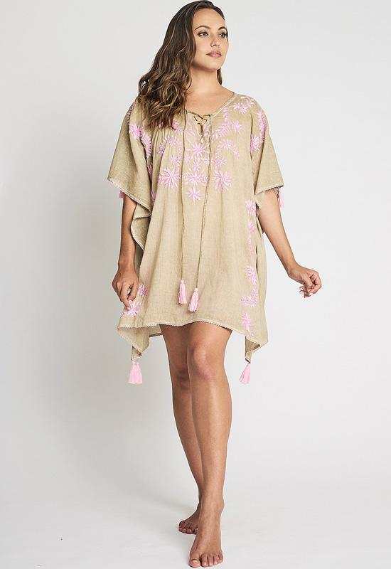 Debbie Katz - Mystic Beige/Pink Multi Single Panel Kaftan
