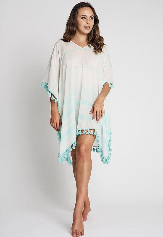 Debbie Katz - Ashton White/Sea Blue Multi Single Panel Kaftan