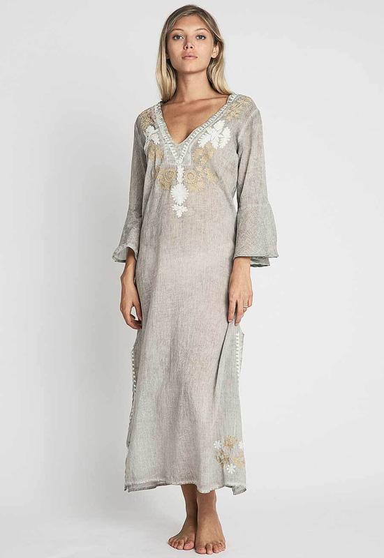 Debbie Katz - Fez Embroidered Taupe Tunic Maxi Dress