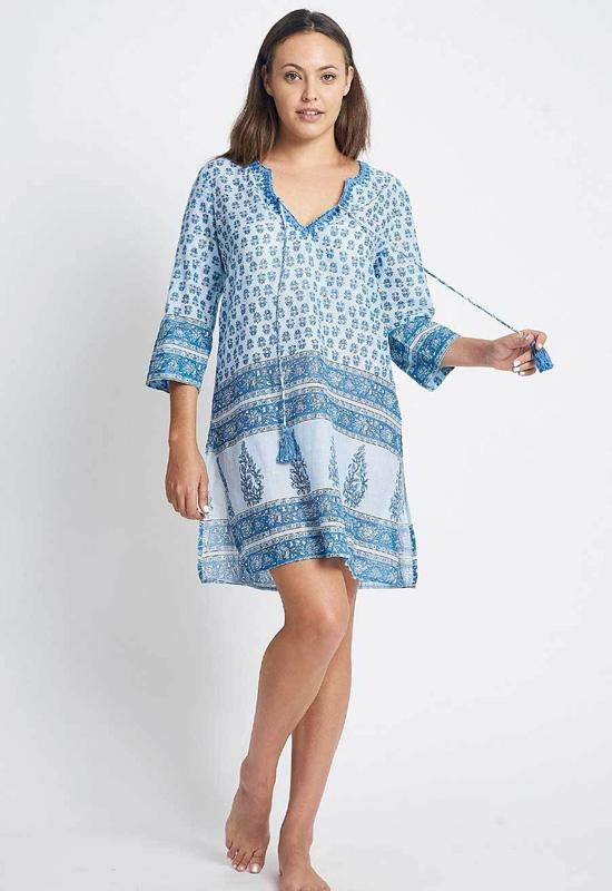 DEBBIE KATZ BARDOT-BLUE TUNIC W/EMBROID BLUE - BARDOT-BLUE-DEBBIE KATZ