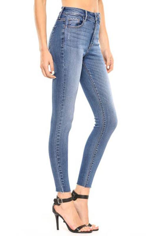 Cello Jeans - Medium Blue Denim Hi Rise Straight Cut Skinny Ankle Jeans