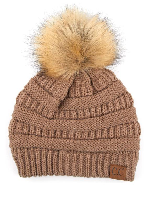 Taupe Beanie with Fur Pom