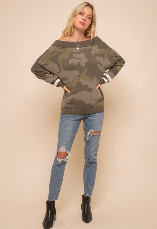 Camo Pullover Sweater Olive