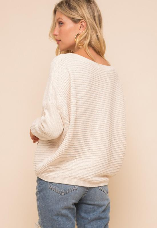 Boat Neck Cocoon Chenille Sweater