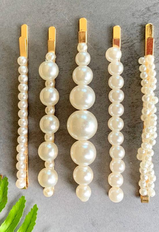 PRETTY SIMPLE A-190123 5 PACK SINGLE ROW PEARL CLIPS - A-190123-PRETTY SIMPLE