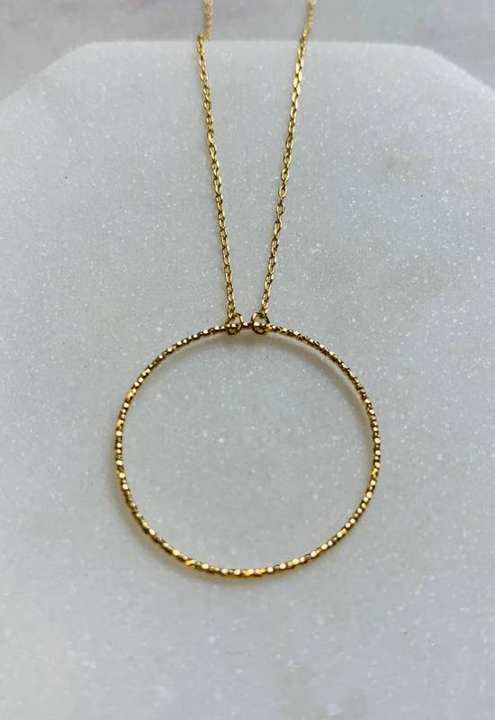 PRETTY SIMPLE N-190062 DELICATE GOLD CIRCLE NECKLACE - N-190062-PRETTY SIMPLE