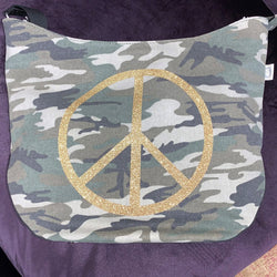 Quilted Koala - City Bag Camo with Gold Glitter Peace Sign