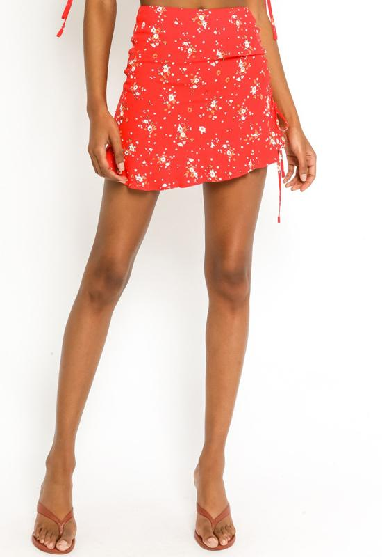 Mini Skirt with Side Tie - Red