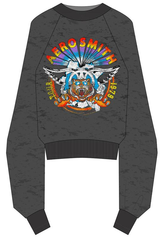 Recycled Karma - Aerosmith Cropped 1979 Tour Sweatshirt Black