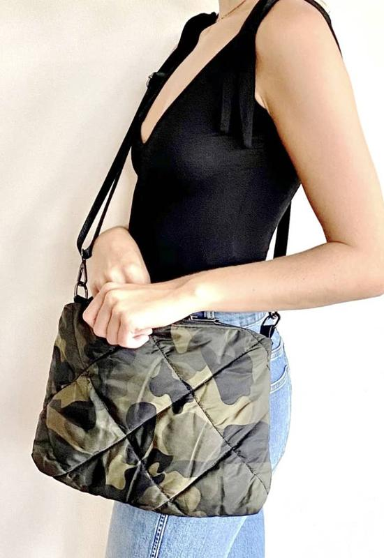 Kixters - Green Multi Camo Quilt Crossbody