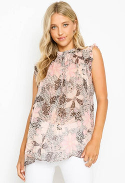 Kixters - Black/Peach Multi Print Top