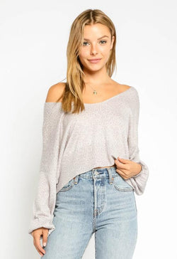 Off the Shoulder Leopard Top - Grey Blush Leopard