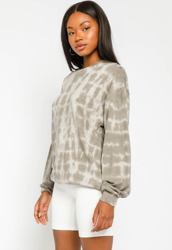 Tie Dye Oversized Sweater - Grey White