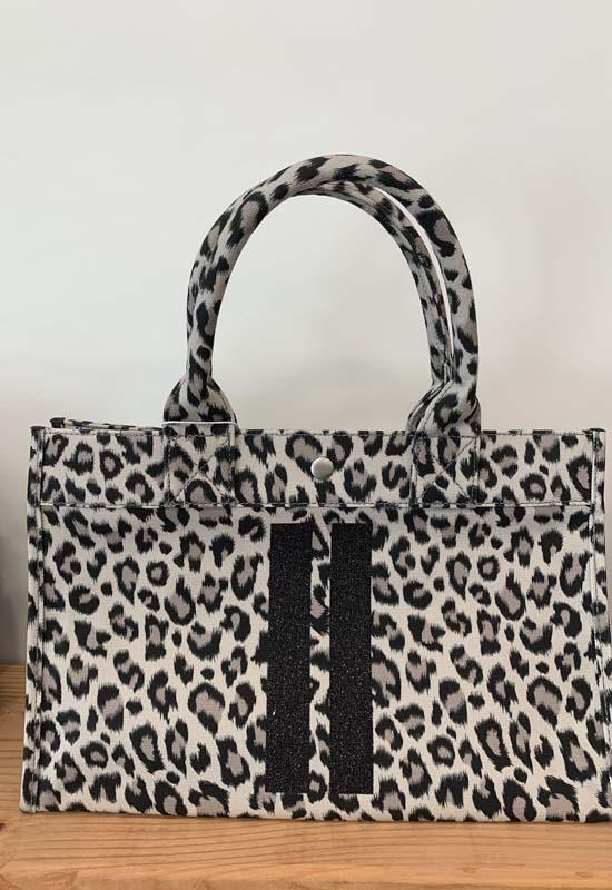 Quilted Koala - Midi East West Leopard Bag with Two Black Glitter Stripes