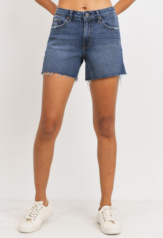 Just Black - High Rise A-Line Shorts - Dark Denim