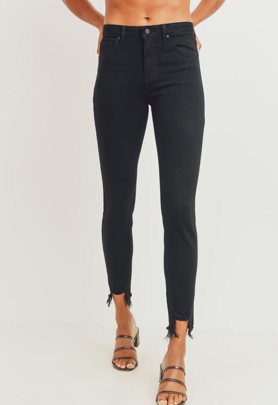 Just Black - Destroyed Black High Rise Distressed Skinny Jeans