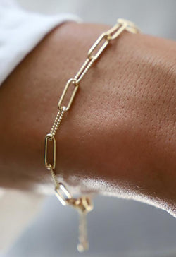 24kt Gold Plate Elongated Link Chain Bracelet