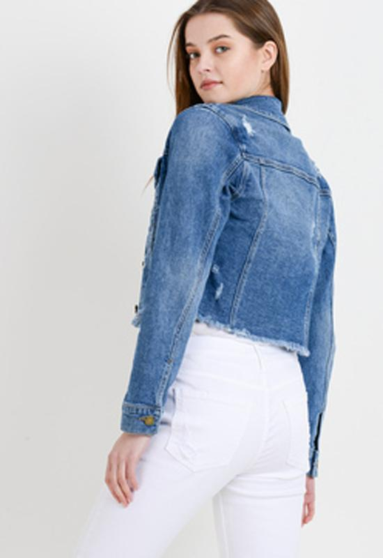 Just Black - Medium Blue Frayed Cropped Denim Jacket