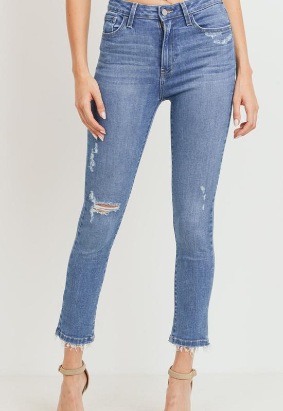 Just Black - Medium Blue Denim High Rise Distressed Skinny Jeans