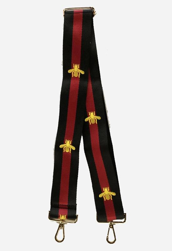 Ahdorned - Black and Red Striped Strap with Gold Bee