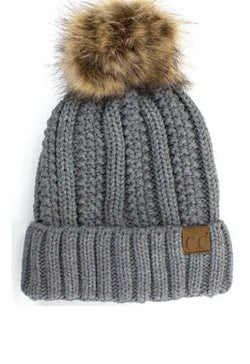 Vertical Knit Grey Hat with Fur Pom