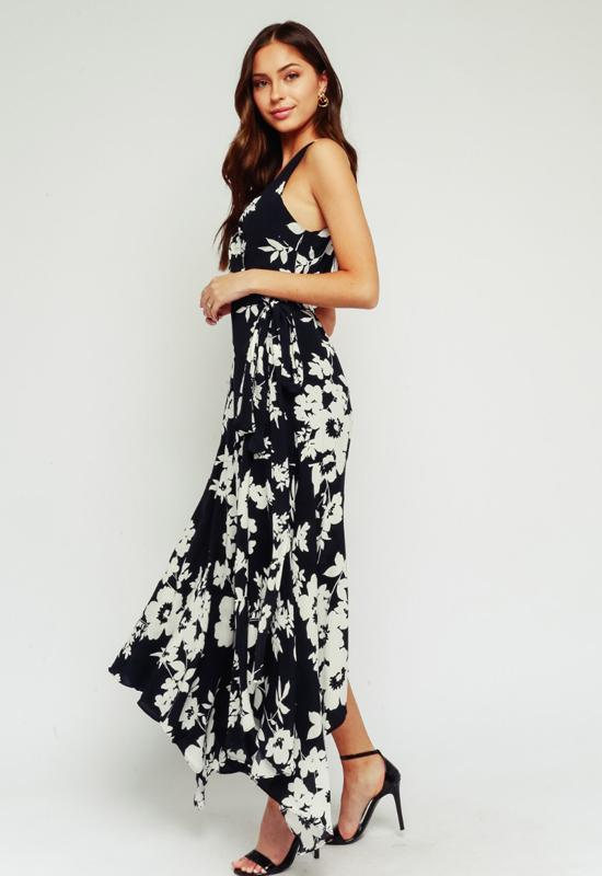 Kixters - Black Multi Floral Print Wrap Maxi Dress