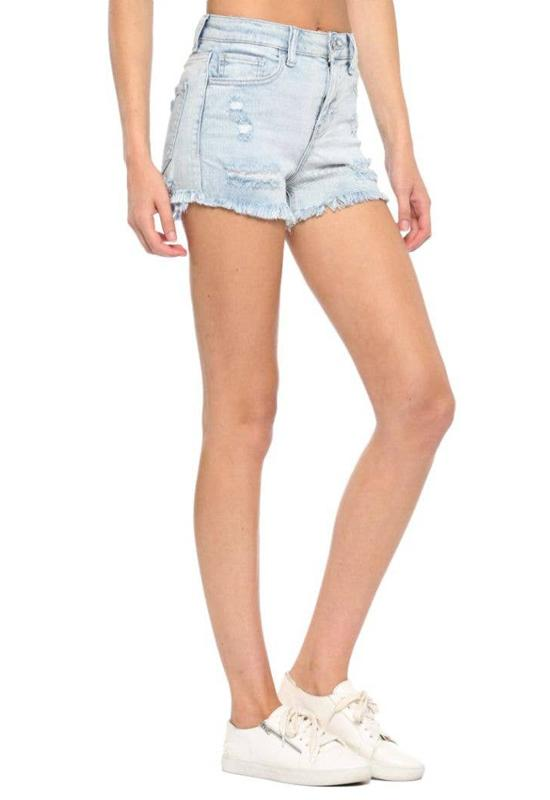 Cello Jeans - Light Blue Denim High Rise Fray Hem Shorts