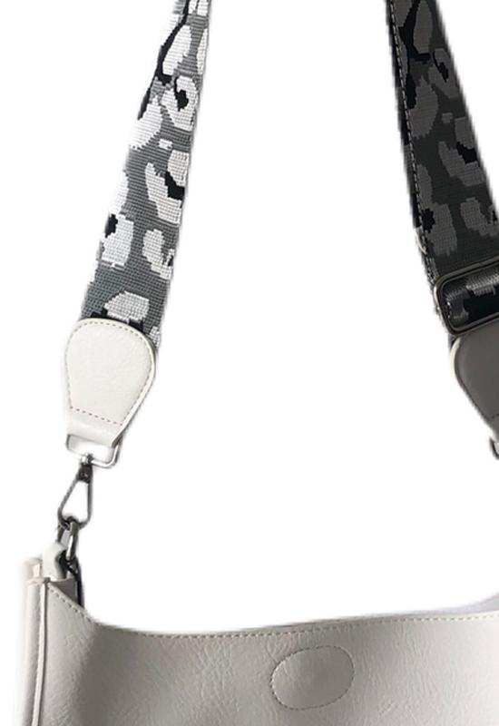 Ahdorned - Large Vegan Messenger White with Light Grey Silver Camo Straps