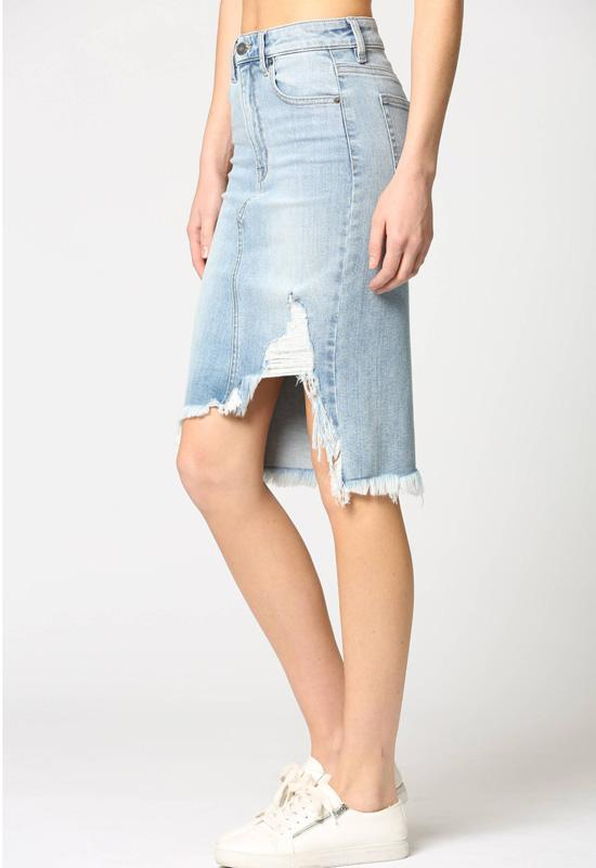 Hidden Jeans - Light Blue Wash Denim Frayed Pencil Skirt