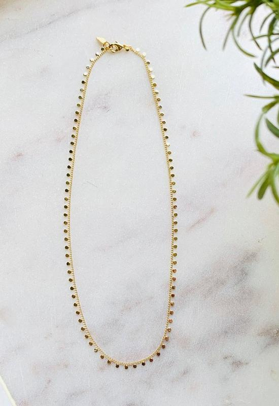 Gold Disc Choker Necklace