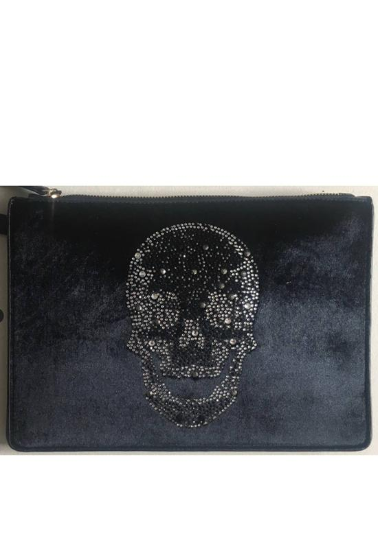 Ah-Dorned - Black Velvet Crystal Skull Clutch Bag