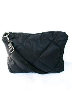Quilted Cross Body Nylon Bag Black