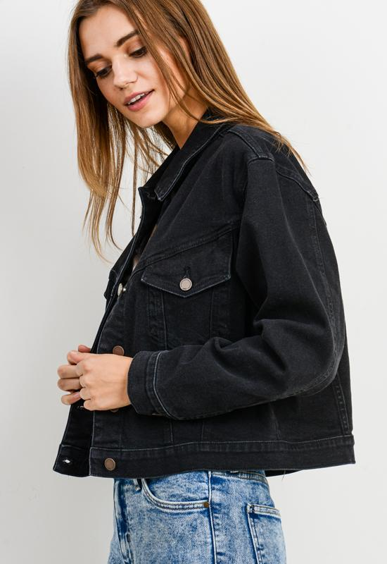 Just Black Denim - Cropped Vintage Denim Jacket Black