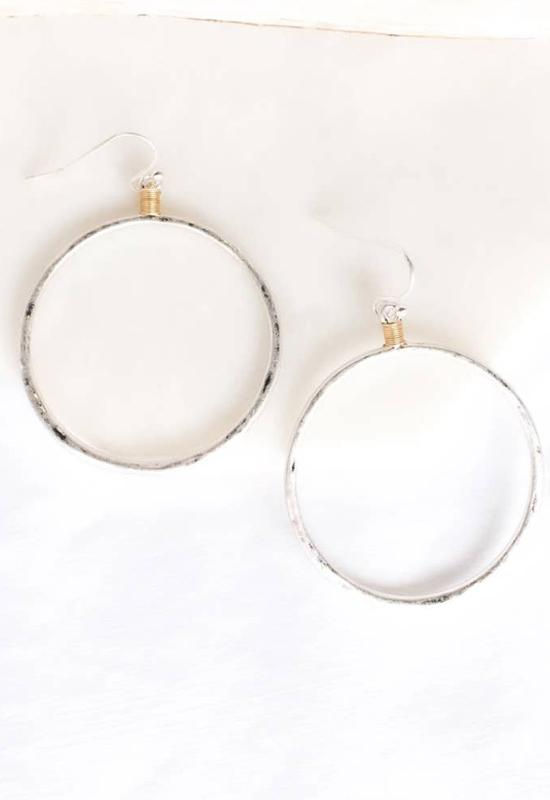 PRETTY SIMPLE J-E20011 HALO HOOP EARRING SILVER - J-E20011-PRETTY SIMPLE