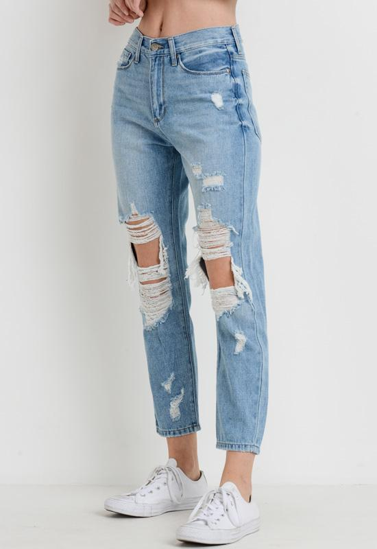 Just Black - Light Blue Denim High Rise Super Destroyed Girlfriend Jeans