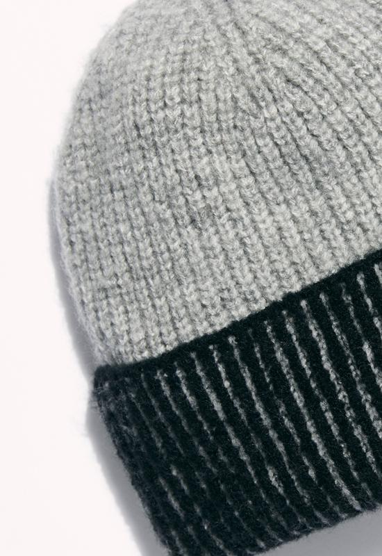 Free People - Straight Chill Ribbed Beanie Black/ Grey
